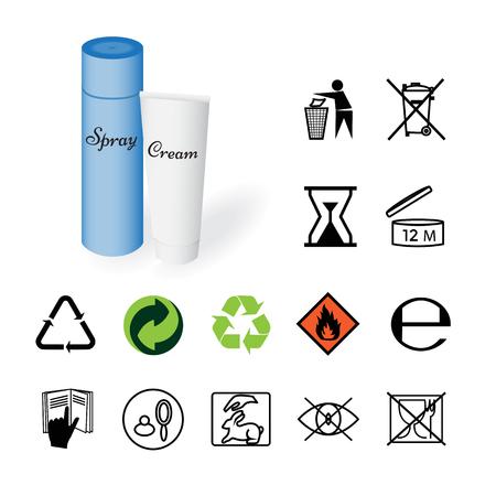 camion de basura: Las se�ales de advertencia, se�ales ambientales, informaci�n de producto en las botellas de cosm�ticos. Ilustraci�n del vector. Vectores