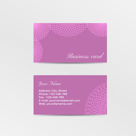 lacework: Pink business card decorated lacework. Vector illustration Illustration