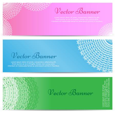 lacework: Lacework ornamental banners horizontal set isolated. Vector illustration Illustration