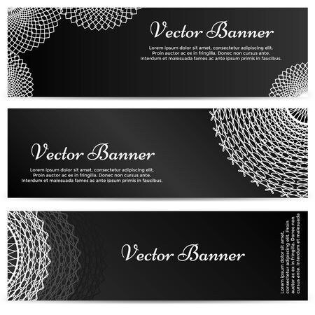 lacework: Lacework ornamental banners horizontal set isolated on black background. Vector illustration