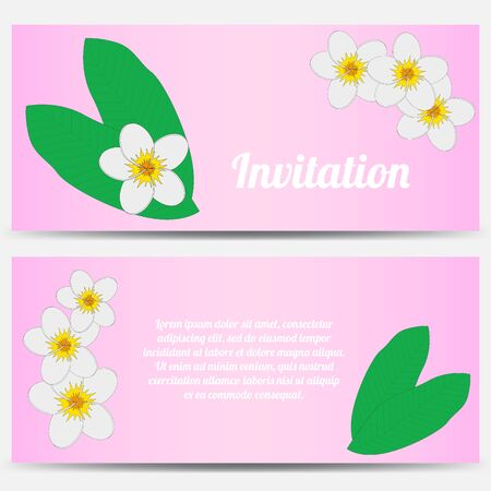 pink plumeria: Invitation with tropical plumeria on a pink background. Vector illustration