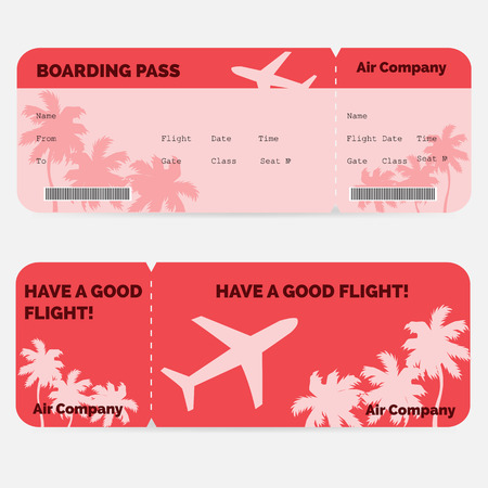flights: Airline boarding pass. Red ticket isolated on white background. Vector illustration