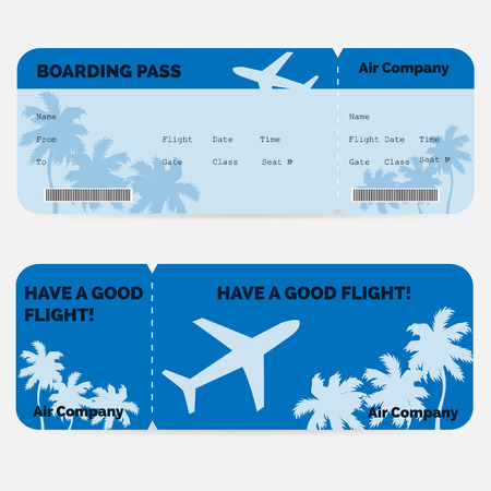 Airline boarding pass. Blue ticket isolated on white background. Vector illustration Stock Illustratie