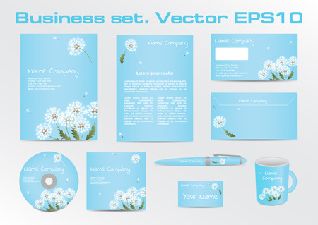 depiction: Corporative Business Set with Dandelion Depiction. Vector Illustration EPS10 Illustration