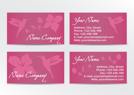 flexible business: Business cards design with hummingbird on pink background. Vector illustration EPS10 Illustration