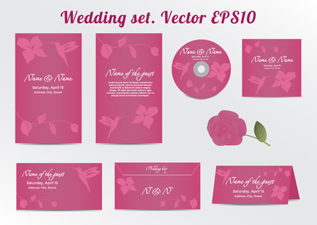 the spouse: Invitation, Save the Date Card Set - for Wedding. Vector illustration  Illustration