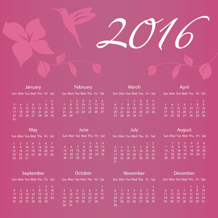 eps8: 2016 Calendar with Hummingbird and flower with week starting on Sunday. Vector illustration EPS8 Illustration