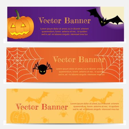 Set of Three Halloween banners. Vector Illustration EPS10