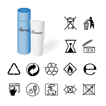 Collection of 14 Symbols Depicted on the Packaging of Cosmetics. Vector Illustration
