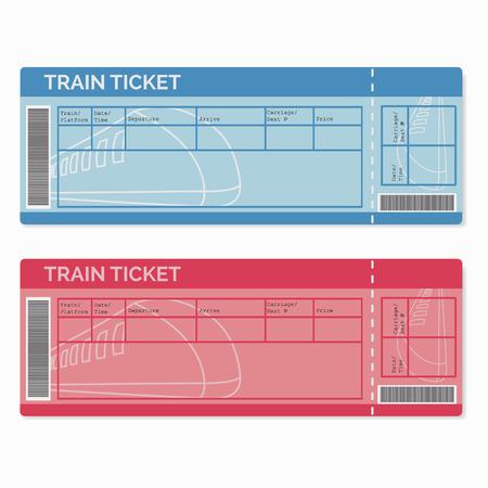 Set de billets de train isolé sur blanc. Vector Illustration EPS10