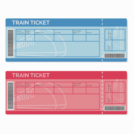 business class travel: Set of Train Tickets Isolated on White. Vector Illustration EPS10 Illustration