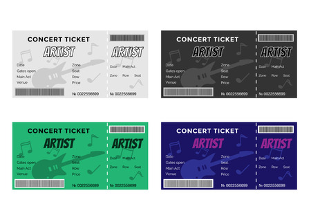 stub: Set of Colorful Concert Tickets with Guitar and Musical Notes. Vector Illustration EPS8. Illustration
