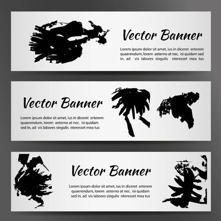 Set of three white banners with inkblots.