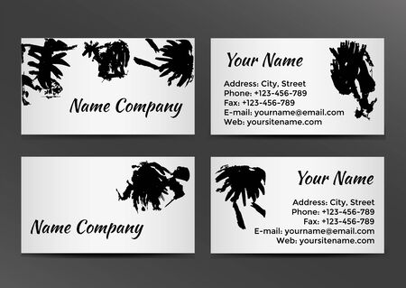 Black and white business card with inkblots. Vector illustration Illustration