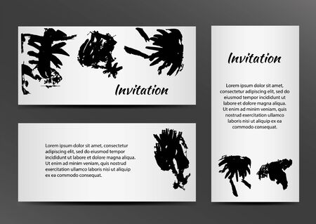 inkblots: Invitation with inkblots on white background. Vector illustration EPS10 Illustration