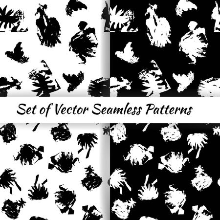Set of decorative graphic seamless patterns with textured inkblots. Vector illustration EPS10 Illustration