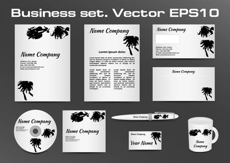 classic style: Business set, black and white inkblot logotype design for corporate identity of your company. Vector illustration EPS10