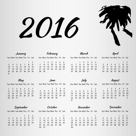 inkblot: 2016 Calendar with inkblot on white background with week starting on Sunday. Vector illustration EPS10