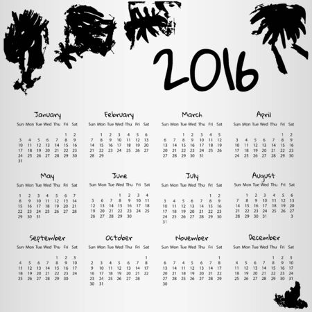 2016 Calendar with some inkblots on white background with week starting on Sunday. Vector illustration EPS10