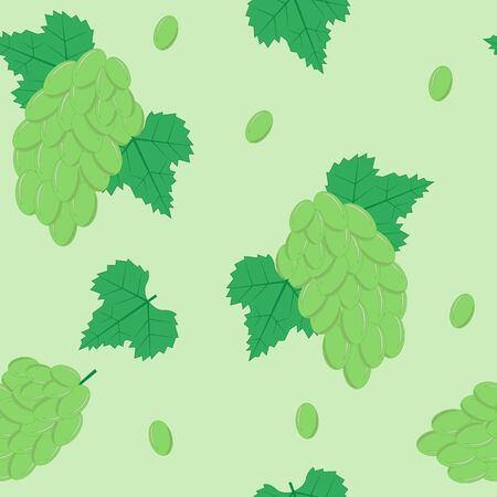 eps8: Seamless Pattern with White Grapes on Light Green Background. Vector Illustration EPS8
