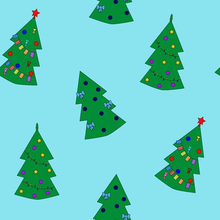 eps8: Seamless pattern of christmas tree on blue background. Vector illustration EPS8