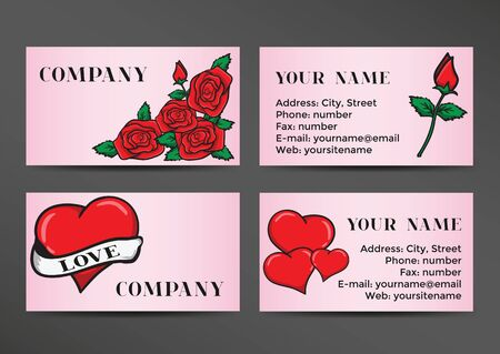 old school: Business card in the old school style. Design with hearts and roses. Template cards for the Wedding and Valentines Day. Vector illustration Illustration