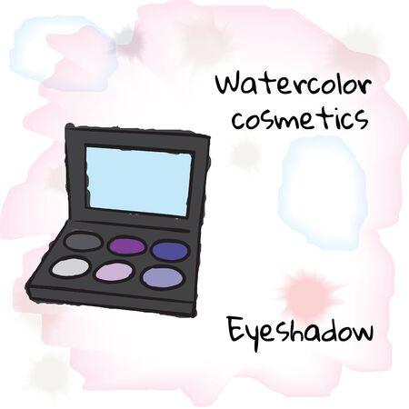 eyeshadow: Watercolor cosmetics. Watercolor eyeshadow on a blurred background. Vector illustration EPS10
