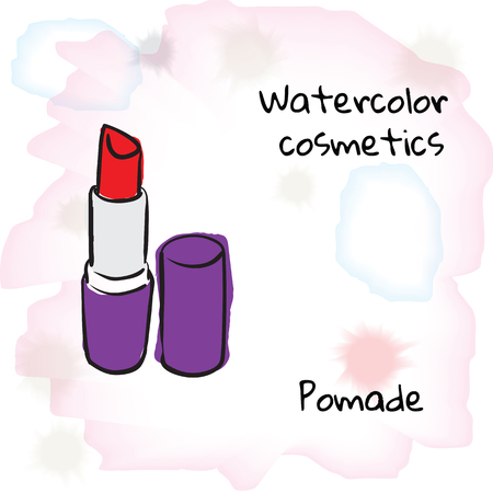 pomade: Watercolor cosmetics. Watercolor pomade on a blurred background. Vector illustration