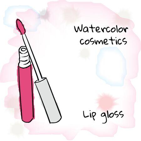 lip gloss: Watercolor cosmetics. Watercolor lip gloss on a blurred background. Illustration