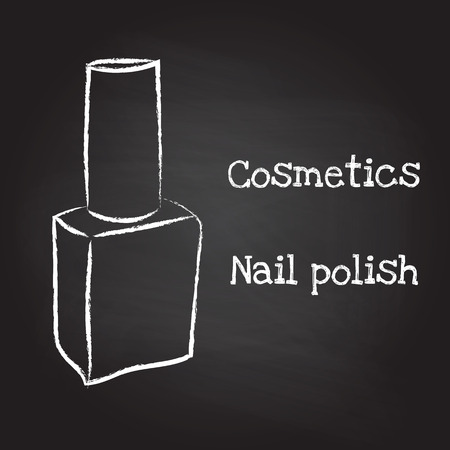 Nail polish painted with chalk on blackboard. Vector illustration EPS10