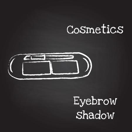 eyebrow: Eyebrow shadow painted with chalk on blackboard.