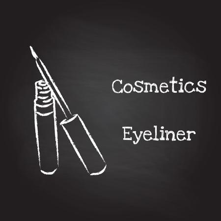 eyeliner: Eyeliner painted with chalk on blackboard. Vector illustration EPS10
