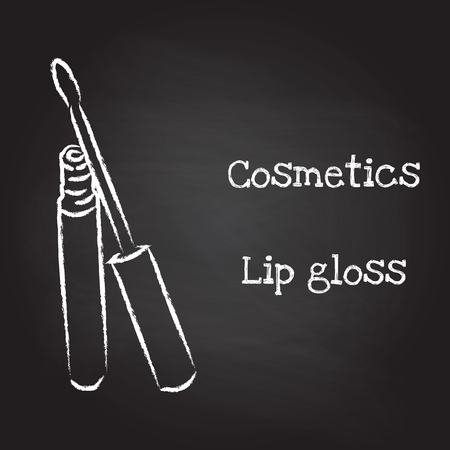 lip gloss: Lip gloss painted with chalk on blackboard.