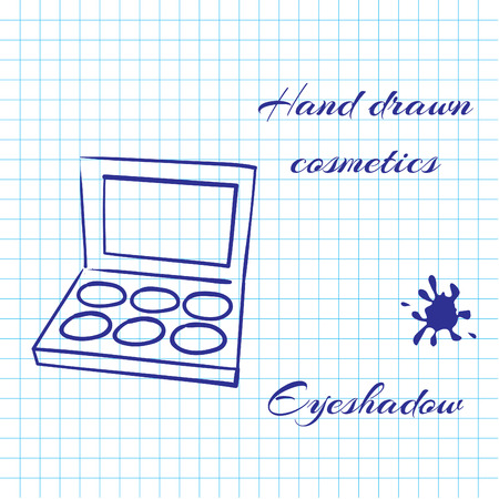 eyeshadow: Hand drawn line art cosmetics on notebook paper background. Eyeshadow drawn with a pen. Vector ilustration EPS10 Illustration