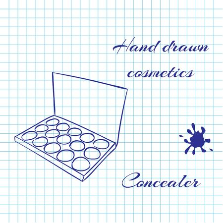 concealer: Hand drawn line art cosmetics on notebook paper background. Concealer drawn with a pen. Vector ilustration EPS10