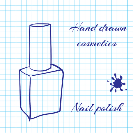 Hand Drawn Line Art Cosmetics On Notebook Paper Background Nail