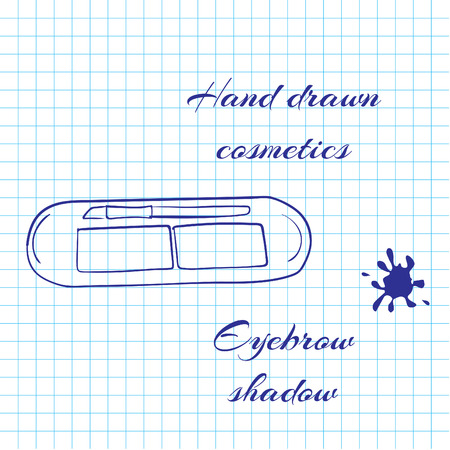 eyebrow: Hand drawn line art cosmetics on notebook paper background. Eyebrow shadow drawn with a pen. Vector ilustration EPS10 Illustration