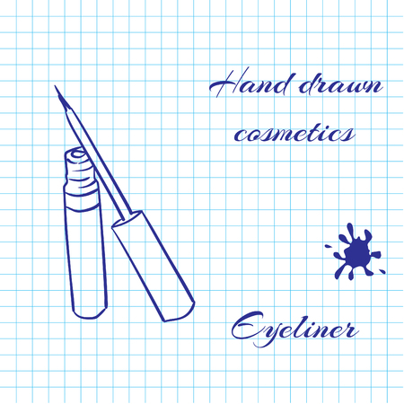 eyeliner: Hand drawn line art cosmetics on notebook paper background. Eyeliner drawn with a pen. Vector ilustration EPS10 Illustration