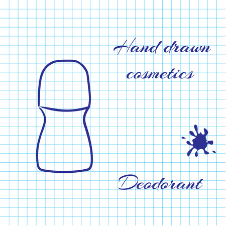 notebook paper background: Hand drawn line art cosmetics on notebook paper background. Deodorant drawn with a pen. Vector ilustration EPS10 Illustration