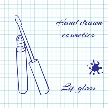 lip gloss: Hand drawn line art cosmetics on notebook paper background. Lip Gloss drawn with a pen. Vector ilustration EPS10 Illustration