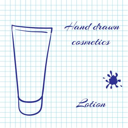 notebook paper background: Hand drawn line art cosmetics on notebook paper background. Lotion drawn with a pen. Vector ilustration EPS10 Illustration