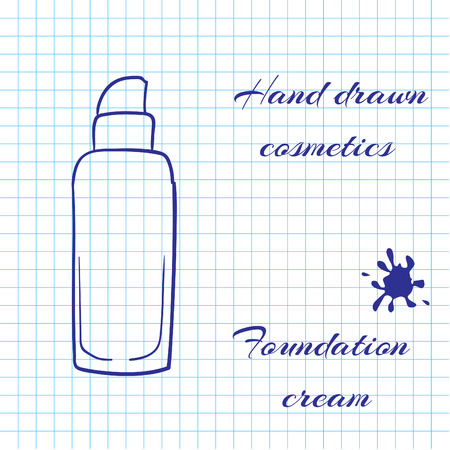 notebook paper background: Hand drawn line art cosmetics on notebook paper background. Foundation cream drawn with a pen. Vector ilustration EPS10