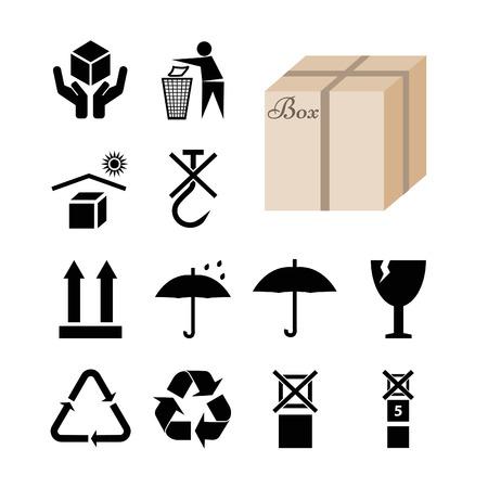 Colección de 12 símbolos que aparecen en el envase y la caja. Ilustración del vector EPS10