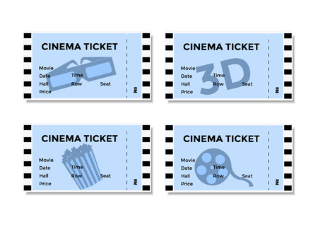 admittance: Set of blue cinema tickets with the image of 3D-glasses , popcorn and movies. Vector illustration EPS10