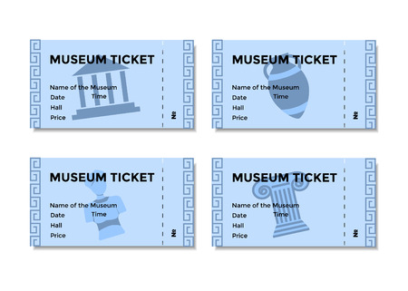paper sculpture: Set of blue ticket to the museum with a picture of historical relics