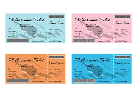 philharmonic: Set of Colorful Philharmonic Tickets with Violin and Musical Notes