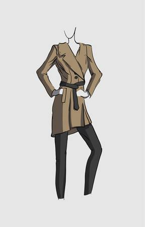 Titel des Bildes  Woman in brown coat  Illustration