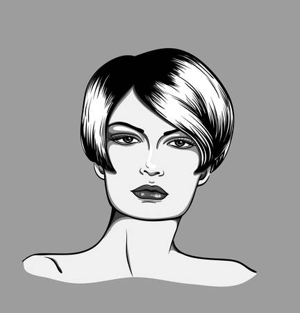Portrait of a woman�with short hair