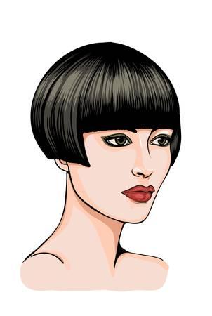 Retrato de una mujer morena con el pelo corto Ilustración de vector