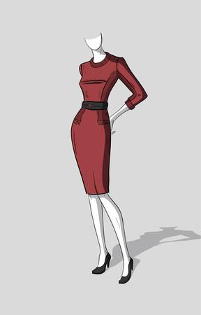 Woman in dark red form-fitting dress